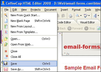 how to build a contact form in coffeecup