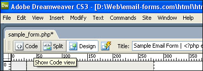 Dreamweaver Code View