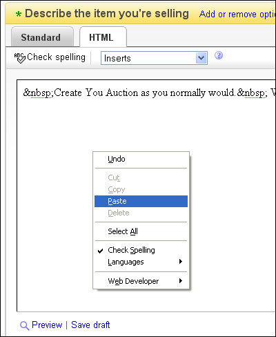 HTML Auction Authoring