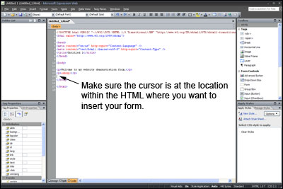 Select Location in Code View