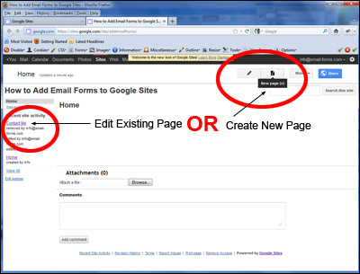 Create a New Page or Edit and Existing Page