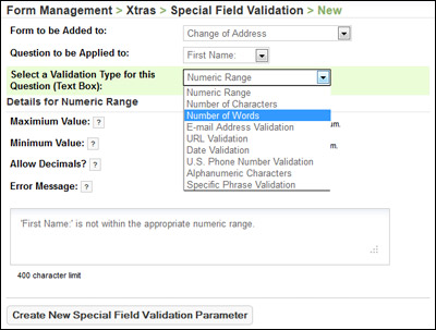 Configure Special Field Validation