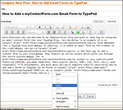 Add a Contact Form to Your TypePad Blog