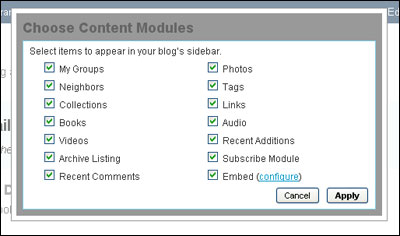 Choose Content Modules